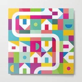 Geometric Town Small Metal Print