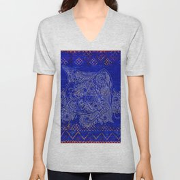N20 - Tribal Cute Cat Hand Drawing, Traditonal Moroccan Carpet Background Unisex V-Neck