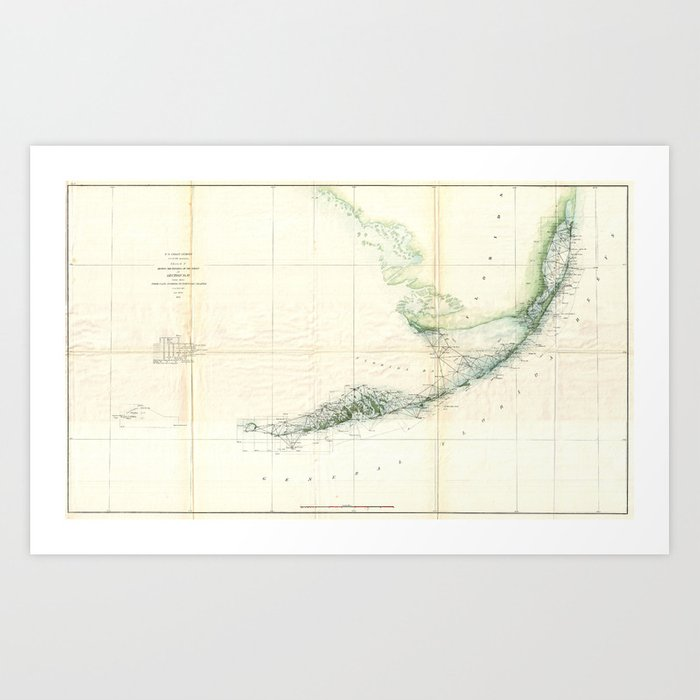 Vintage Map Of The Florida Keys 1859 Art Print By Bravuramedia