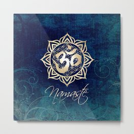 Namaste Lotus Flower of Life Mandala Metal Print