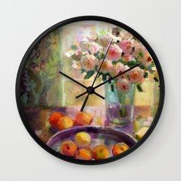 Peach Roses Wall Clock