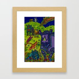 Shrooms and Rhinos Framed Art Print