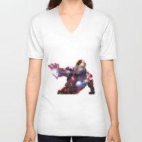 iron man V-neck T-shirts featuring Iron man by Gary Reddin