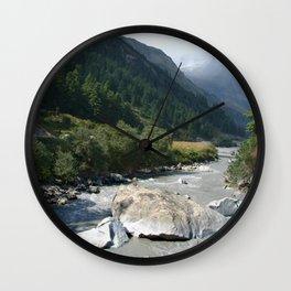 View Along River Marpha to Ghasa Wall Clock