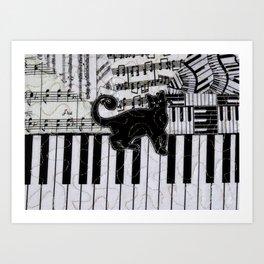 Black Cat on a Keyboard Art Print