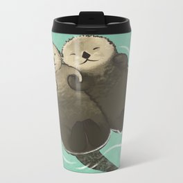 Significant Otters - Otters Holding Hands Metal Travel Mug