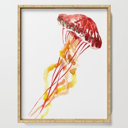 Jellyfish, Red, orange, Yellow design Serving Tray