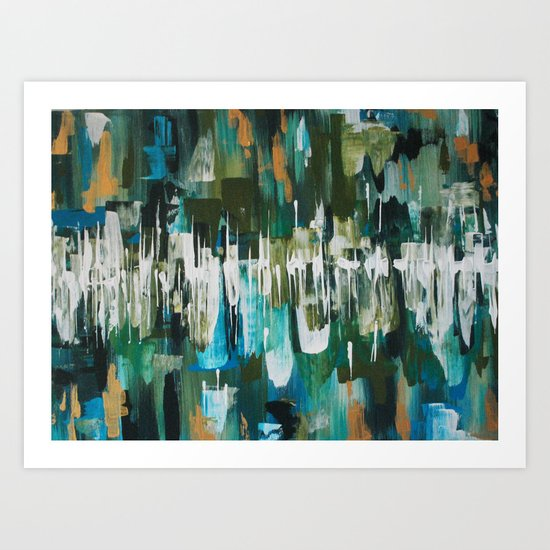 Acrylic Blue, Green and Gold Abstract Painting by erika-lancaster