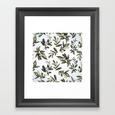 Pattern with mistletoe branches.  Watercolor Framed Art Print