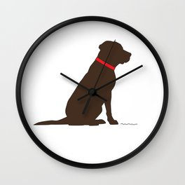 Modern Chocolate Lab Silhouette Wall Clock