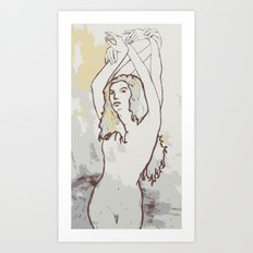 Girl with hands Art Print