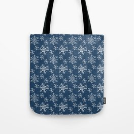 Hand Drawn Snowflakes on Blue Tote Bag