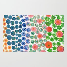 Playful Green Stars and Colorful Circles Pattern Rug