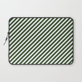 Small Dark Forest Green and White Candy Cane Stripes Laptop Sleeve