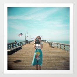 Camera Girl on the California Coast - Holga Photo Art Print