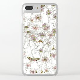 Moths on Bee Balm Clear iPhone Case