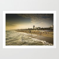 santa monica Art Prints featuring Santa Monica by Kyle Moreno