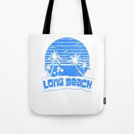 Long Beach CA Sunset Beach Vacation Paradise Island Retro Blue Tote Bag