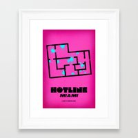hotline miami Framed Art Prints featuring Hotline Miami - Minimalist Design by dcruze
