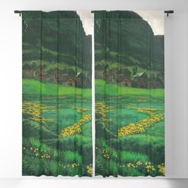 Idyllic Mountain and Meadow Landscape, A Clear Night in June by Nikolai Astrup Blackout Curtain