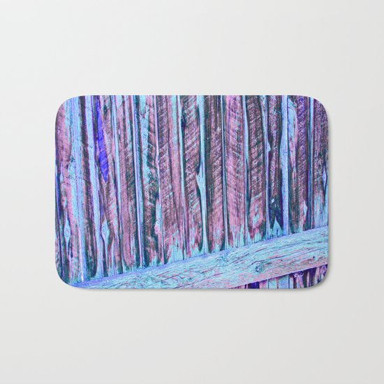 Blue Abstract Fence Bath Mat