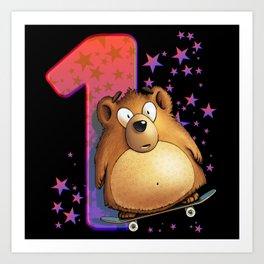 1st Birthday 2nd Year Of Life Bear Art Print