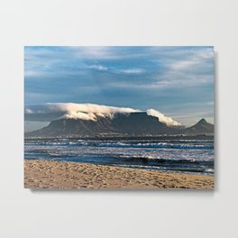 Table Mountain And Lion's Head Cape Town City Sea Beach, South Africa Metal Print