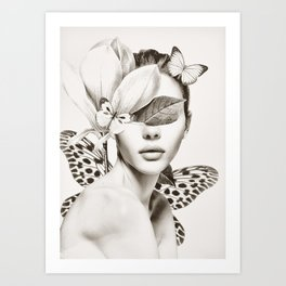PORTRAIT /Woman with flower and butterflies Art Print