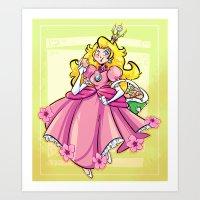 princess peach Art Prints featuring Princess Peach by Chicken