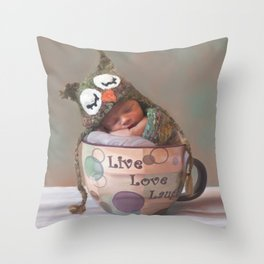 Baby With Owl Cap Throw Pillow