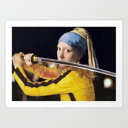 Beatrix Kiddo and Vermeer's Girl with a Pearl Earring Art Print