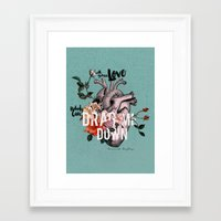coconutwishes Framed Art Prints featuring Drag Me Down by Coconut Wishes