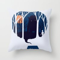 scary Throw Pillows featuring Scary story by SpazioC