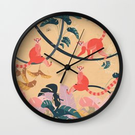 Lemurs in the jungle Wall Clock