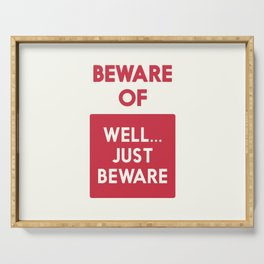 Beware of well just beware, safety hazard, gift ideas, dog, man cave, warning signal, vintage sign Serving Tray
