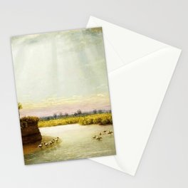 1873 Classical Masterpiece 'White Pelicans in Florida' by George Harvey Stationery Cards