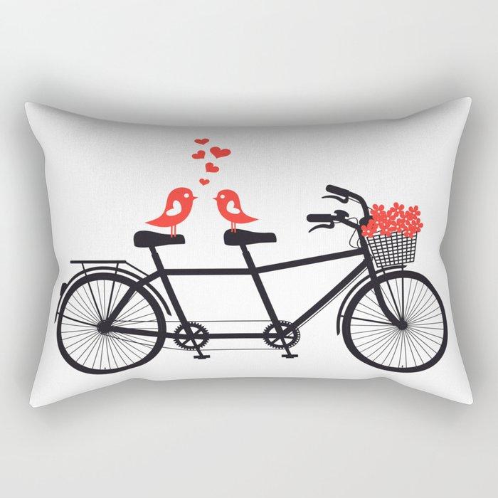 Cute birds on bicycle Rectangular Pillow