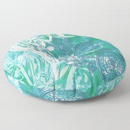 Hawaiian - Samoan - Polynesian Ocean Spray Honu Tribal Floor Pillow