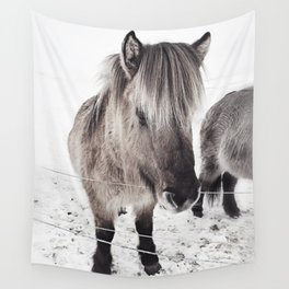 snowy Icelandic horse bw Wall Tapestry