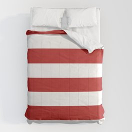 Cornell red - solid color - white stripes pattern Comforters