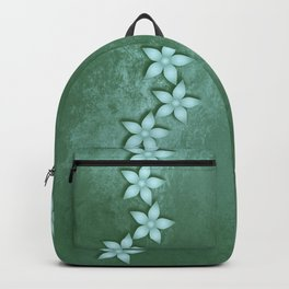 Beautiful blue flowers and green grunge texture Backpack