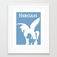 hercules Framed Art Prints featuring Hercules by Citron Vert