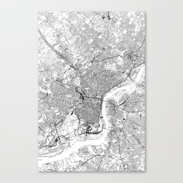 Philadelphia White Map Canvas Print