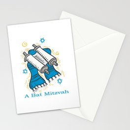 Bat Mitzvah with scroll and shawl  Stationery Cards