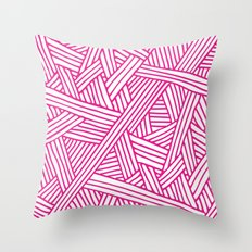 Abstract pink & white Lines and Triangles Pattern-Mix and Match with Simplicity of Life on #Society6 Throw Pillow
