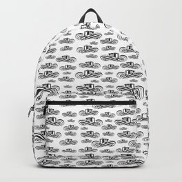 Sombrero Vueltiao in Black and White Ink Pattern Backpack