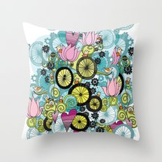 Bicycle Birds Throw Pillow