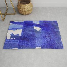 Blue abstract linen Rug
