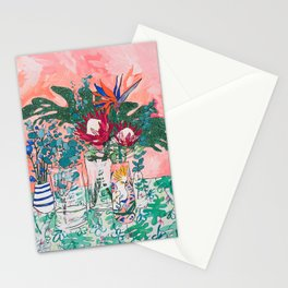 Cockatoo Vase - Bouquet of Flowers on Coral and Jungle Stationery Cards