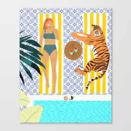 How To Vacay With Your Tiger #illustration Canvas Print